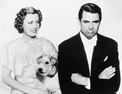 Irene Dunne and Cary Grant with Asta